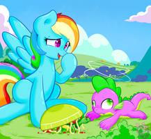 Rainbow Dash and Spike ! by shadowhulk