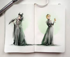 Notebook sketches | Maleficent and Cersei