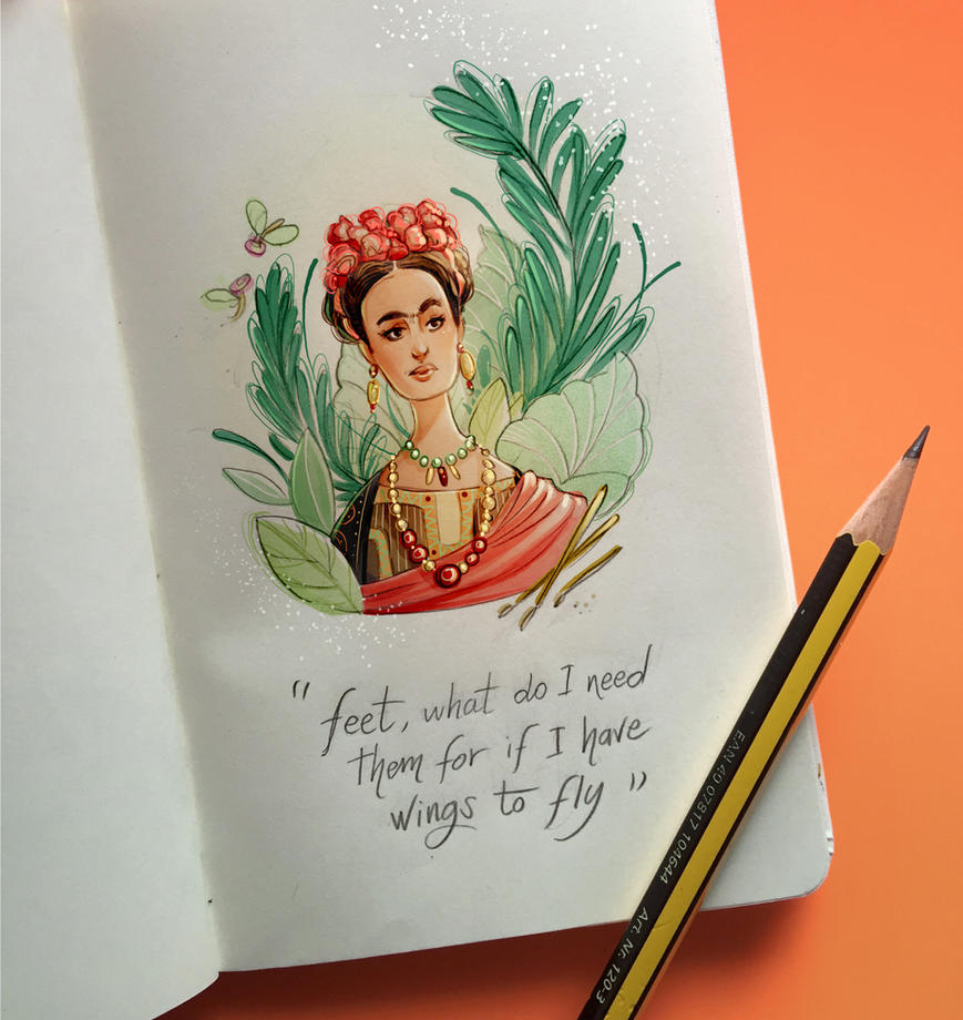 notebook sketches | Frida Kahlo by SimonaBonafiniDA