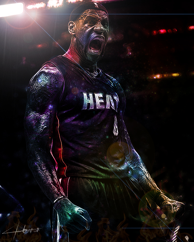 LeBron James - Flaming Galaxy by idmt23Lebron James Screaming