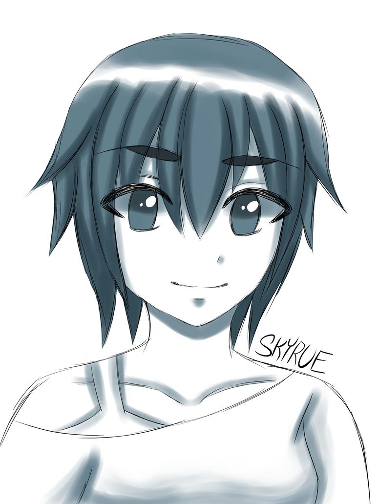 Anime Girl Sketch by Skyrue117