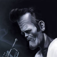 Chet Baker caricature painting by crazedude