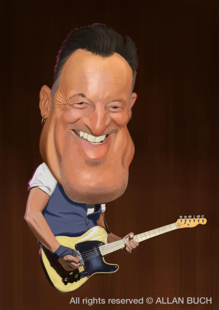 Bruce Springsteen Caricature painting by crazedude