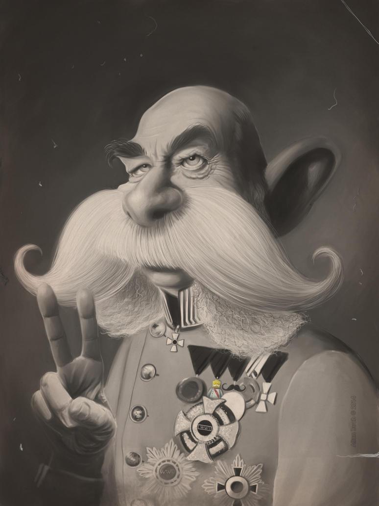 Kaizer Franz Joseph 2 caricature painting by crazedude