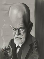 Sigmund Freud Caricature painting