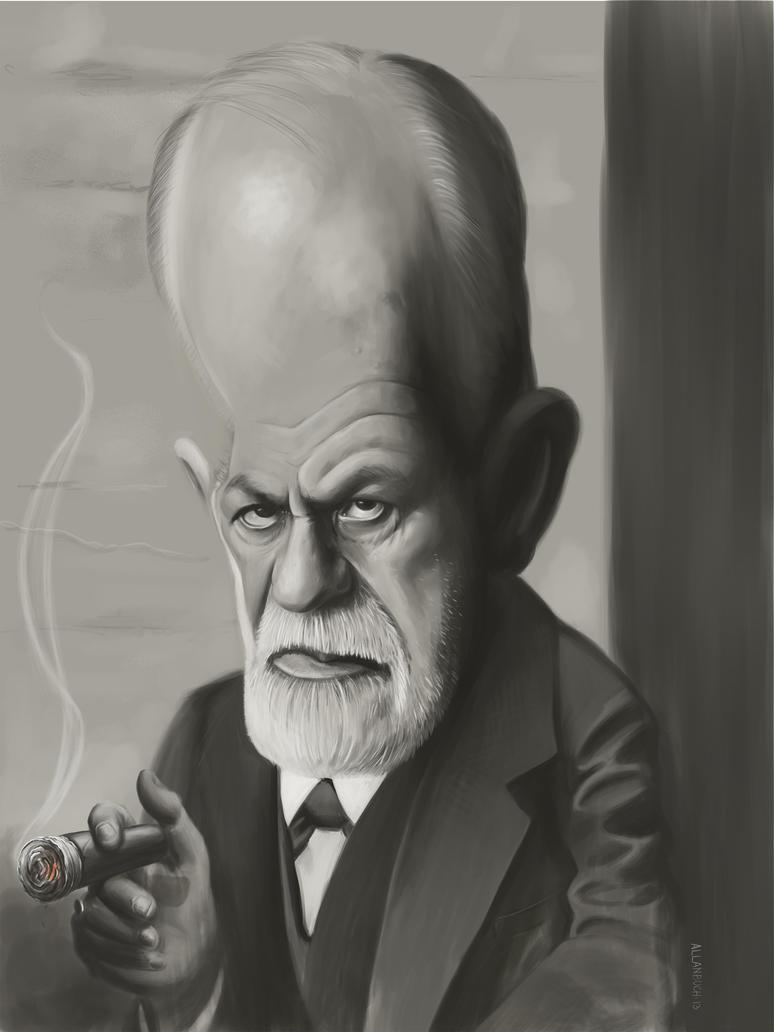 Sigmund Freud Caricature painting by crazedude