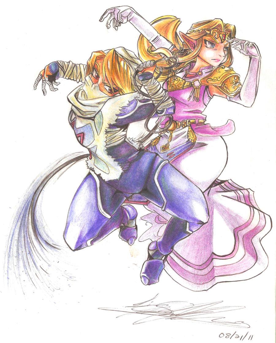 Zelda to Sheik w Color Pencils by LunarMew