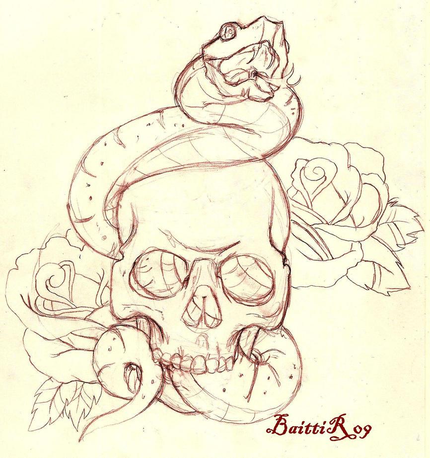 skull and snake sketch by baitti on deviantart