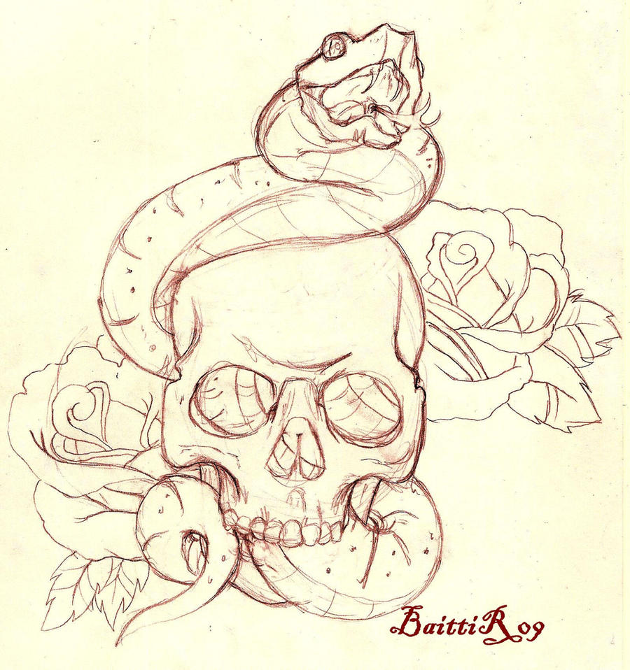 skull and snake sketch by baitti on deviantart. Black Bedroom Furniture Sets. Home Design Ideas