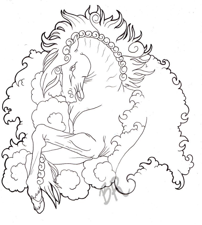 Line Art Tattoo Designs : Horse tattoo design line by baitti on deviantart