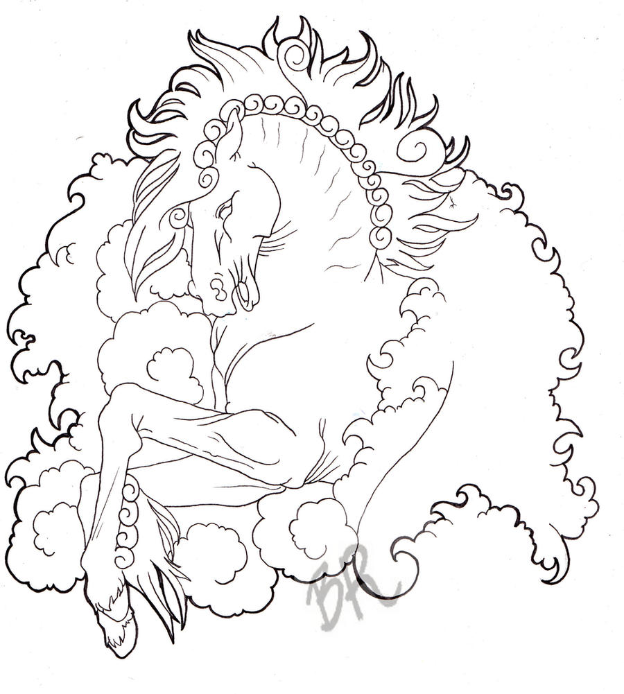 Line Drawing Tattoos : Horse tattoo design line by baitti on deviantart