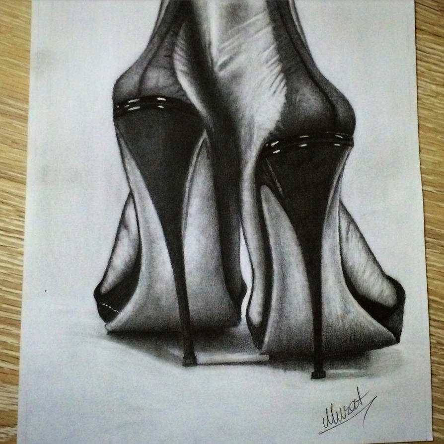 Drawing high heels with pencil by korkmazart on DeviantArt