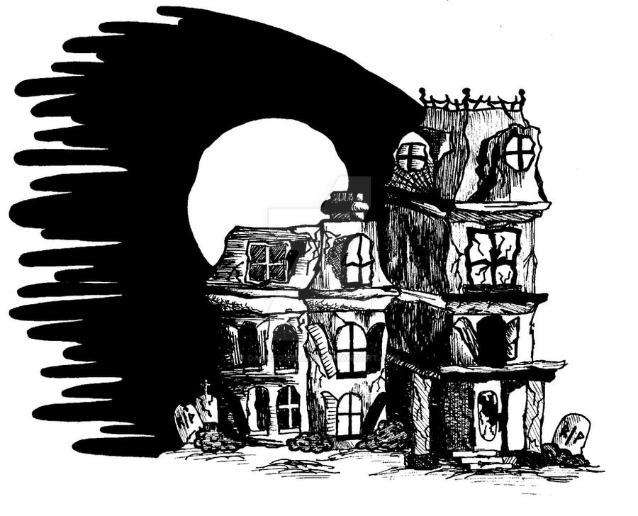 Haunted house drawing by darkfoxblade on deviantart for Easy haunted house to draw
