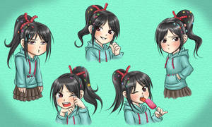 Vanellope - Different Expressions by Thaumana