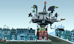 Danny Phantom Background: Fenton Neighborhood by christophr1
