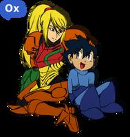 Samus and Megaman by BerserkerOx