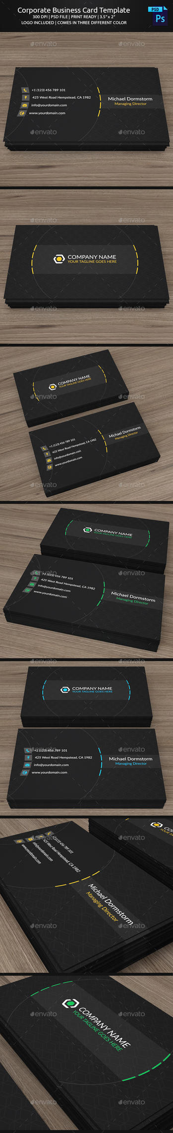 Corporate Business Card Template by aykutfiliz