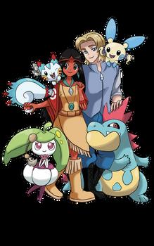 Commission : John/Pocahontas with their pokemons