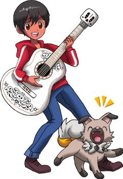 Commission : Miguel with his Rockruff named Piedra