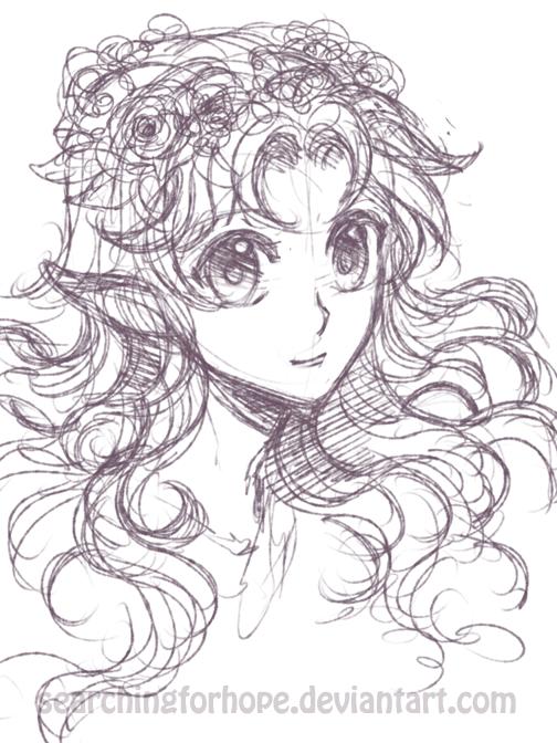 Fairy or elf girl sketch by searchingforhope