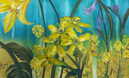Yellow Flowers with Hostas by MirielVinya