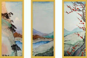 View of Mount Fuji - a Triptych