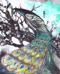 Peacock on a plum tree, Inktober 2-2017 by MirielVinya