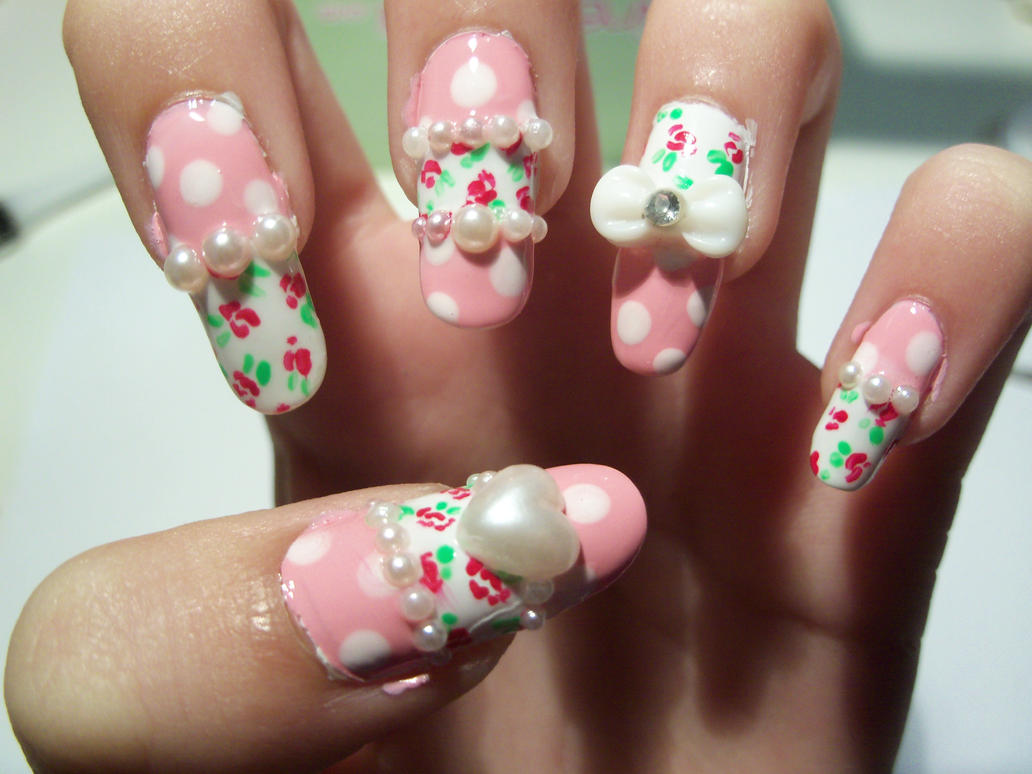 Rose And Pearl Nail Art By Mimimemeko On Deviantart