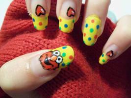 Elmo Nail Art by MimiMemeko