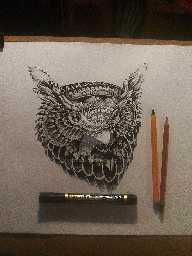 owl ink design by Kszesiu