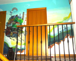 Howl's Moving Castle Mural ^^ by WormholePaintings