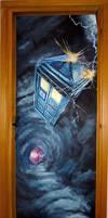 Tardis through the door (painted door) ^^