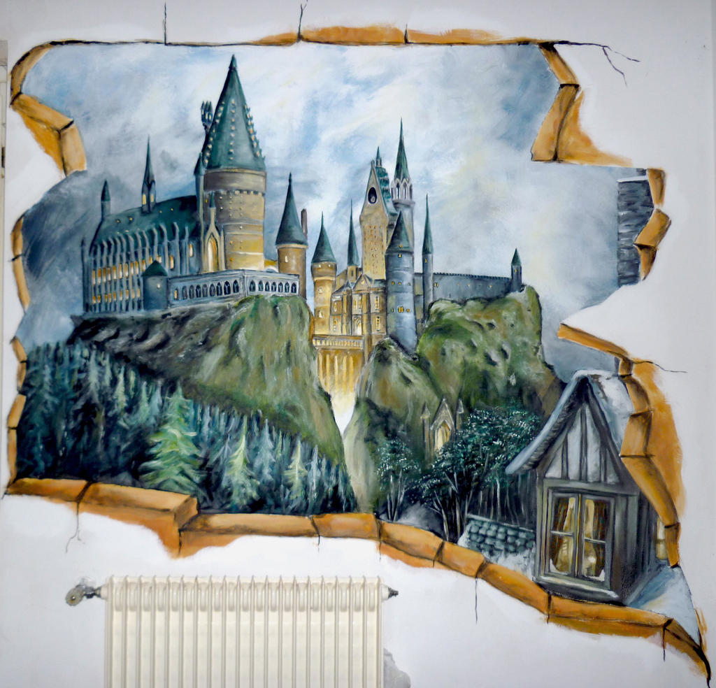 breach to hogwarts mural by wormholepaintings on