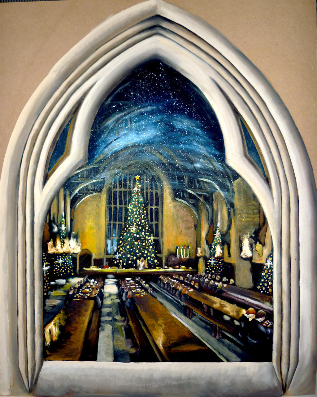 Window to the Great Hall at Christmas :) by WormholePaintings