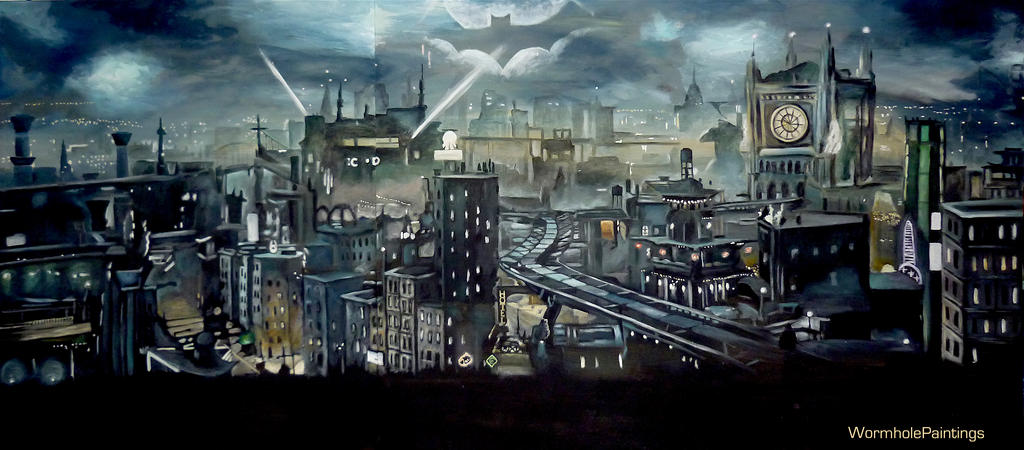the gallery for gt gotham city skyline drawing