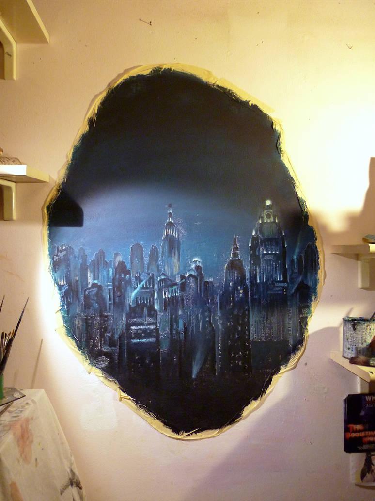 In progress tear to rapture bioshock mural by wormholepaintings