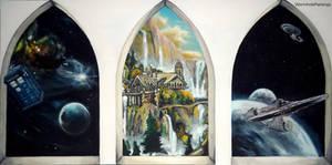 Three windows to different worlds...