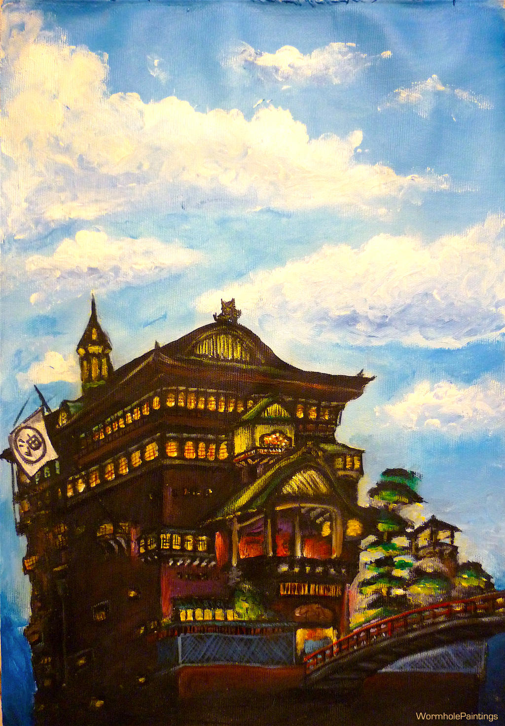 Spirited Away Bathhouse Night And Day By Wormholepaintings On Deviantart