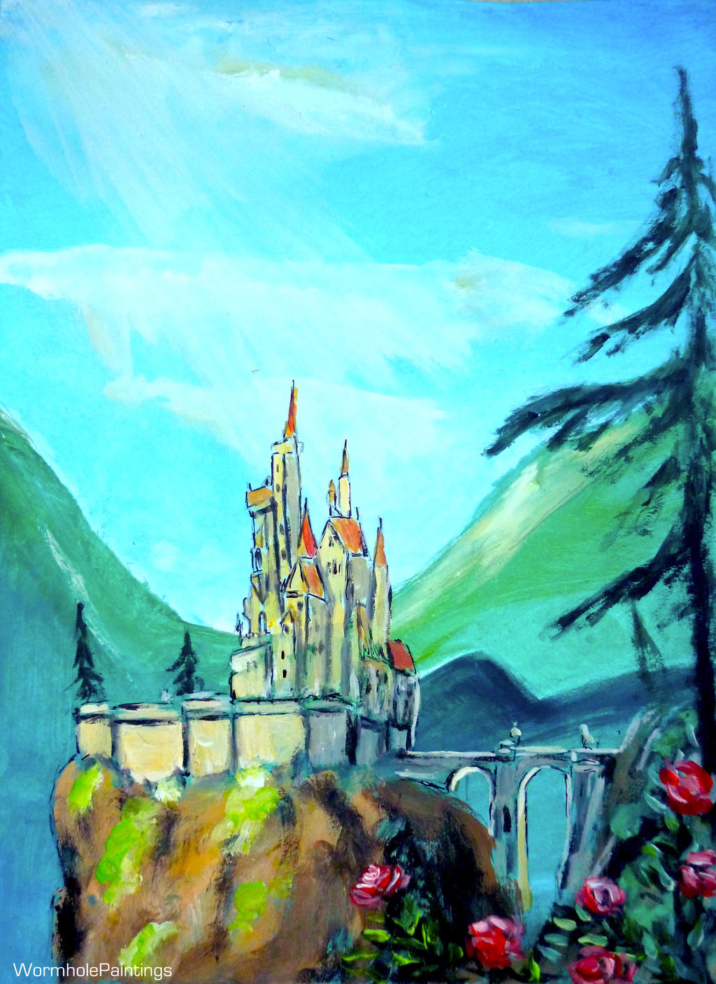 wormholepaintings beauty and the beast castle by wormholepaintings - Traditional Castle 2016
