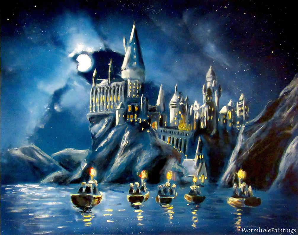 Hogwarts by night by wormholepaintings on deviantart - Hogwarts at night wallpaper ...
