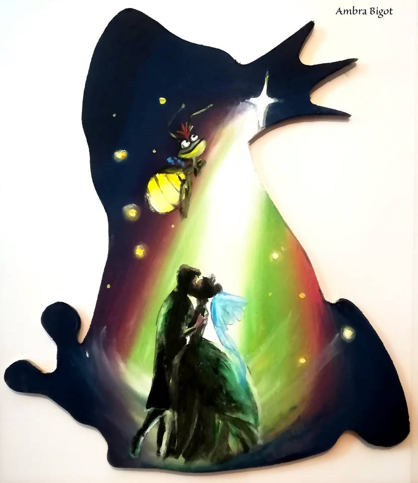The Princess And The Frog Silhouette By Wormholepaintings On