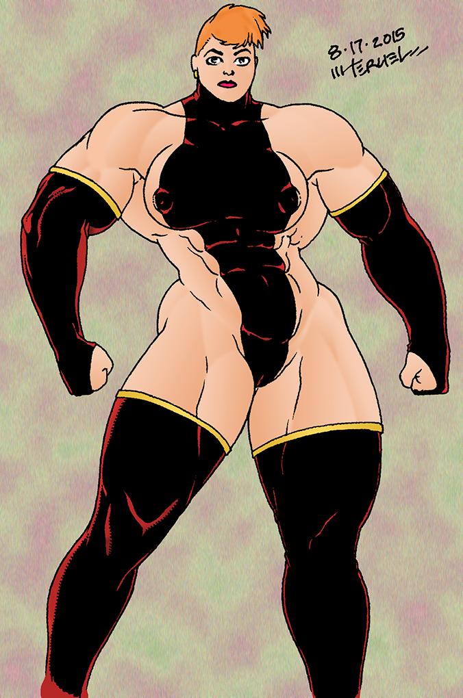 Muscular Woman in spandex by MiltonTeruel
