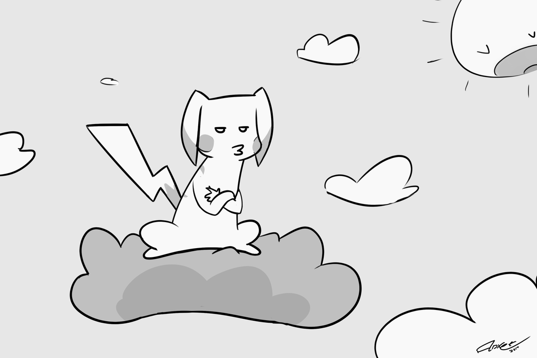 Pikachu on a cloud or something doodle by Anxet
