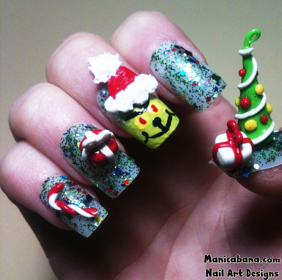 How The Grinch Stole Christmas Nail Art By Manicabana On Deviantart