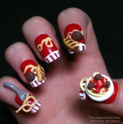 3D Spaghetti and Meatball Nails