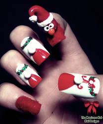 3D Elmo Xmas Nails