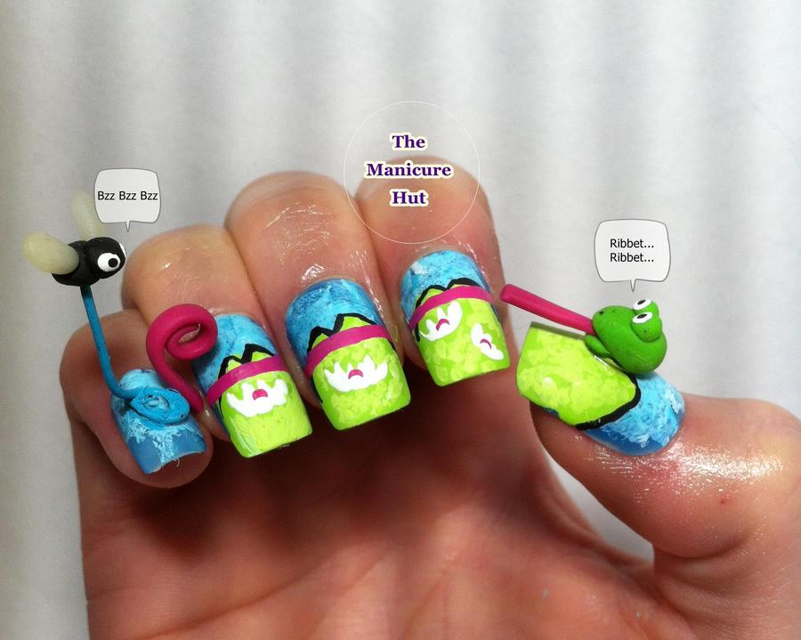 Froggy Feast 3d Nail Art by manicabana on DeviantArt