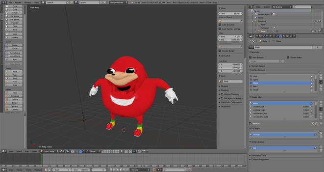 The Knuckles meme as a 3d model