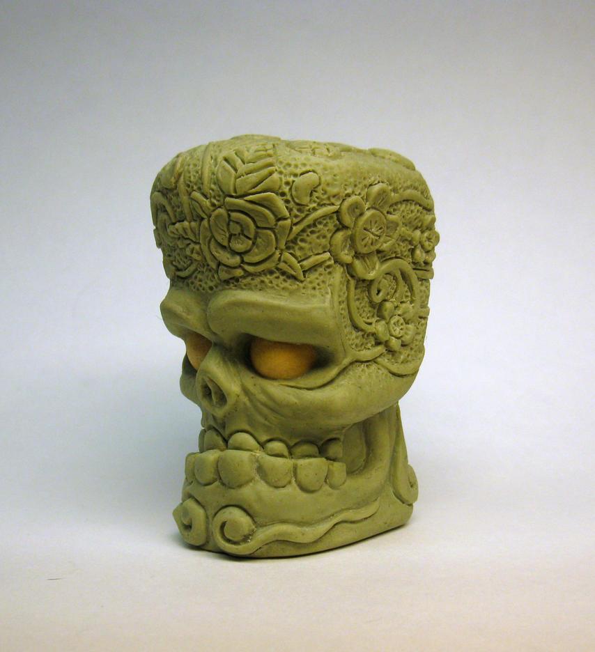 Flower tat skull shift knob by Switchum