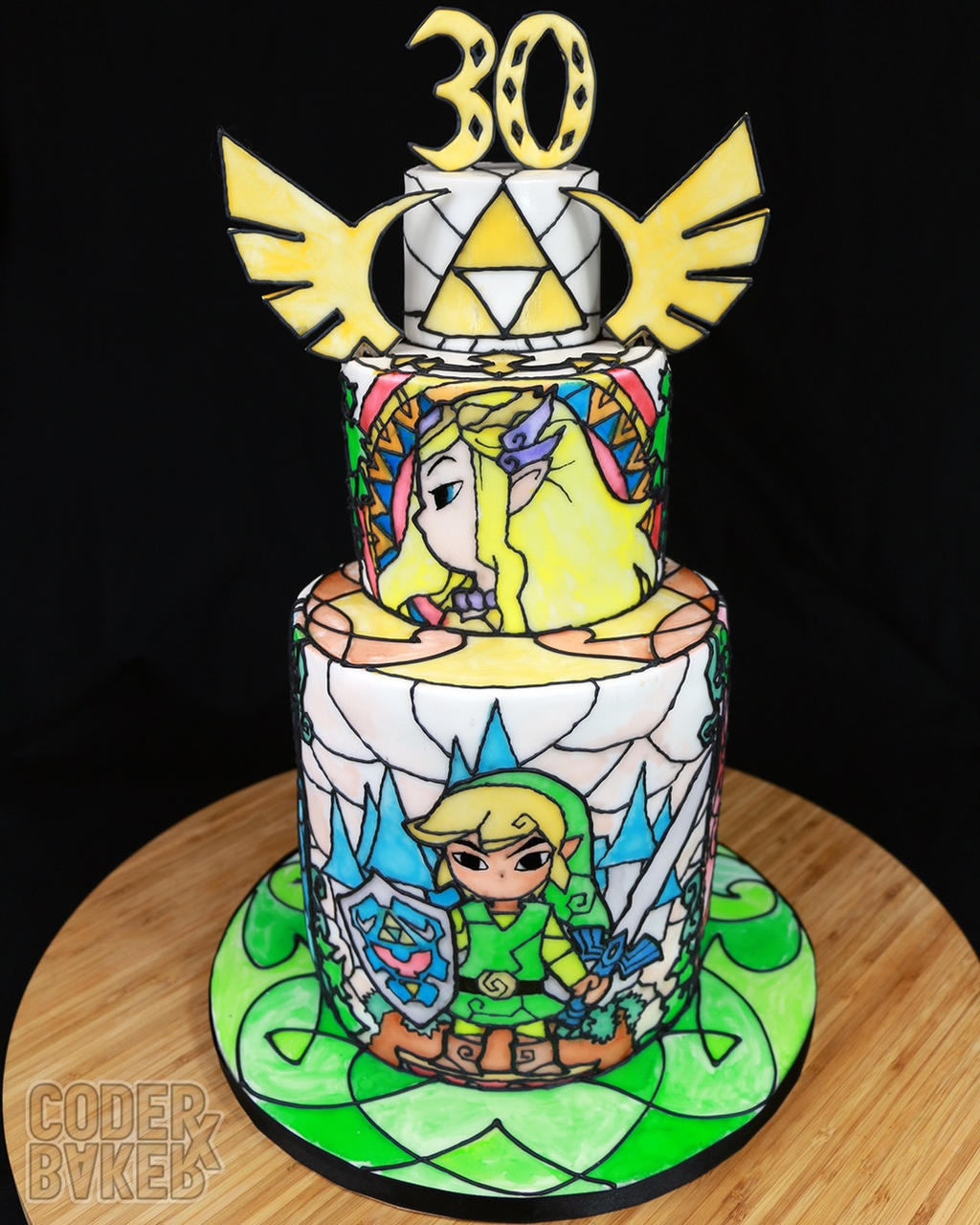 Zelda stained glass chocolate cake by kalan on deviantart for Cuisine zelda